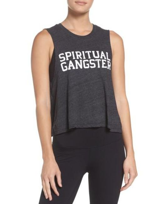 Spiritual Gangster | Black Varsity Crop Tank | Lyst