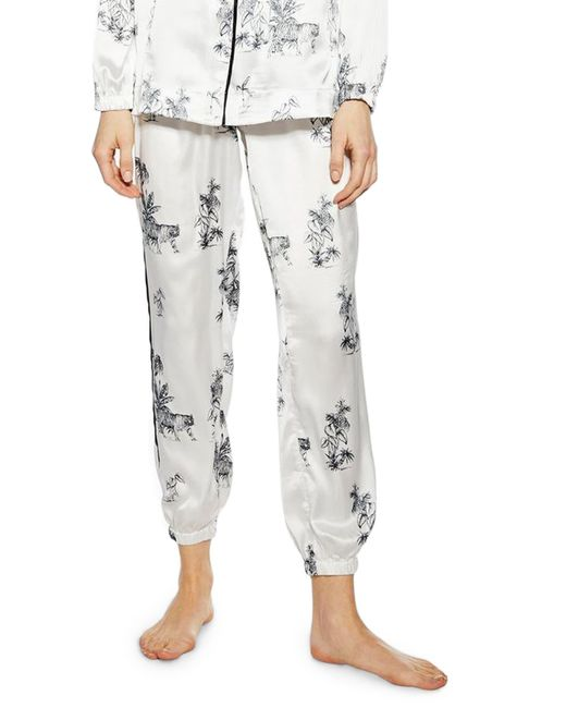 TOPSHOP White Jungle Pajama Pants