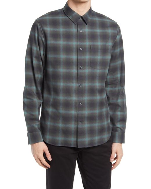 Vince Gray Slim Fit Shadow Plaid Button-up Shirt for men