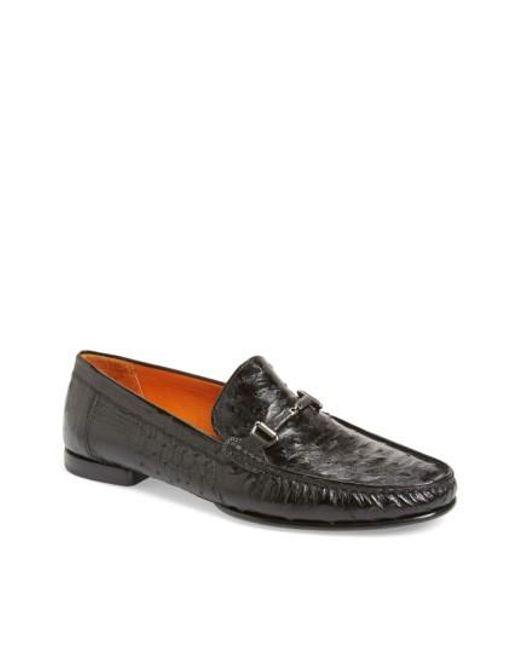 Mezlan | Black 'vittorio' Ostrich Leather Bit Loafer for Men | Lyst