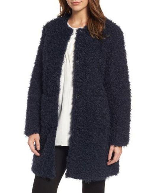 Via Spiga   Blue Reversible Faux Fur Coat   Lyst