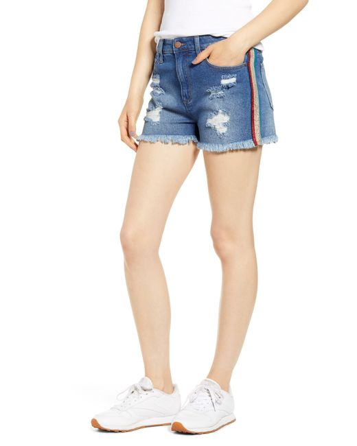 Tinsel Blue Rainbow Side Stripe Shorts