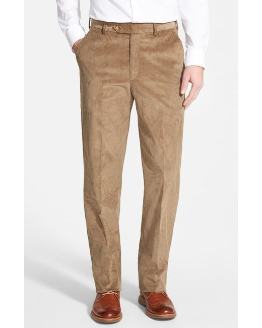 Berle Blue Flat Front Classic Fit Corduroy Trousers for men