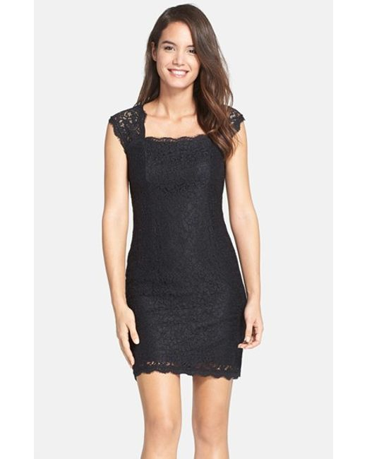 Adrianna Papell | Black Lace Sheath Dress | Lyst