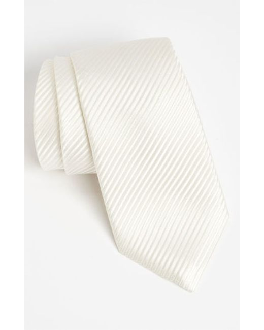 David Donahue | White Woven Silk Tie for Men | Lyst