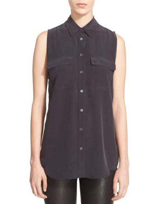 Equipment | Black 'slim Signature' Sleeveless Silk Shirt | Lyst