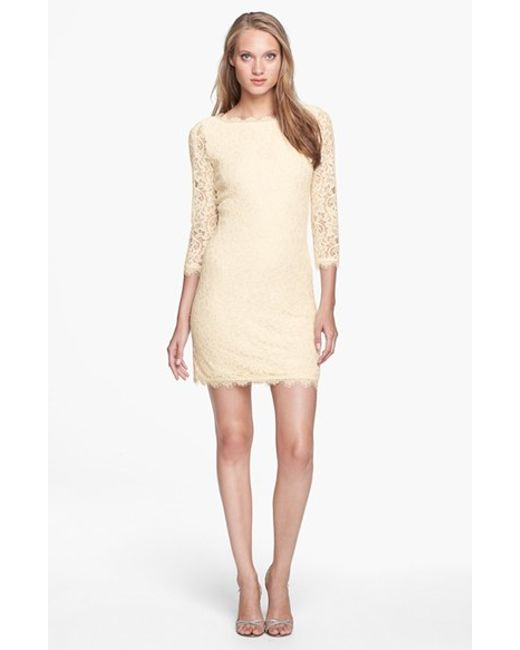 Diane von Furstenberg | White 'zarita' Lace Sheath Dress | Lyst