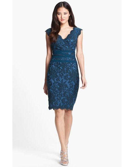 Tadashi Shoji | Blue Embroidered Lace Sheath Dress | Lyst