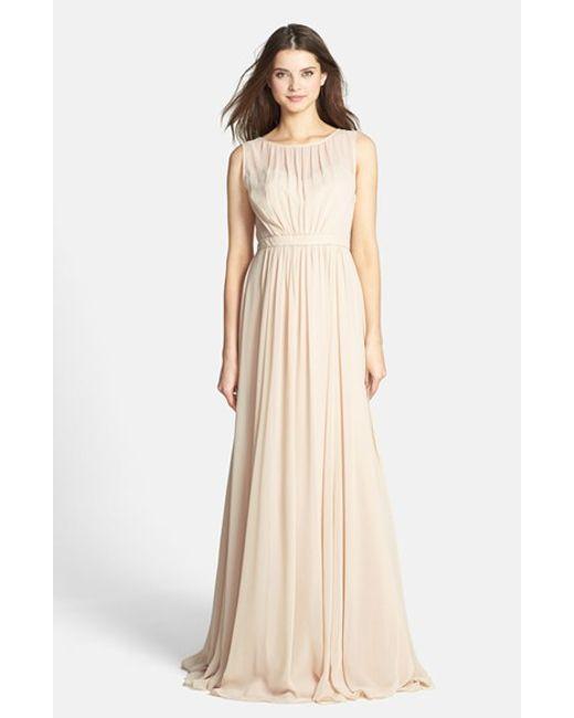 Jenny Yoo | Metallic 'vivienne' Pleated Chiffon Gown | Lyst