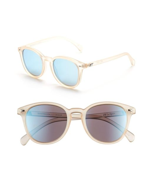 5626ec8ad2 Le Specs - Bandwagon 51mm Sunglasses - Raw Sugar  Ice Blue Mirror - Lyst ...