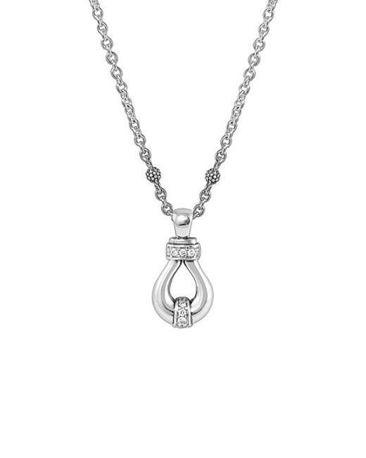 Lagos | Metallic 'derby' Diamond Pendant Necklace | Lyst
