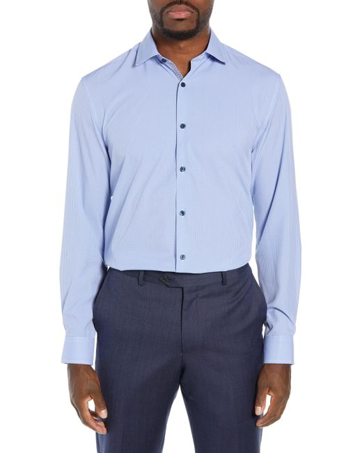 W.r.k. - Blue Trim Fit 4-way Stretch Houndstooth Dress Shirt for Men - Lyst