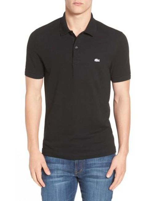Lacoste | Black 'white Croc' Slim Fit Pique Polo for Men | Lyst