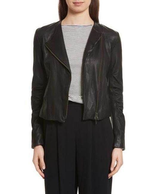Vince - Black Cross Front Leather Jacket - Lyst