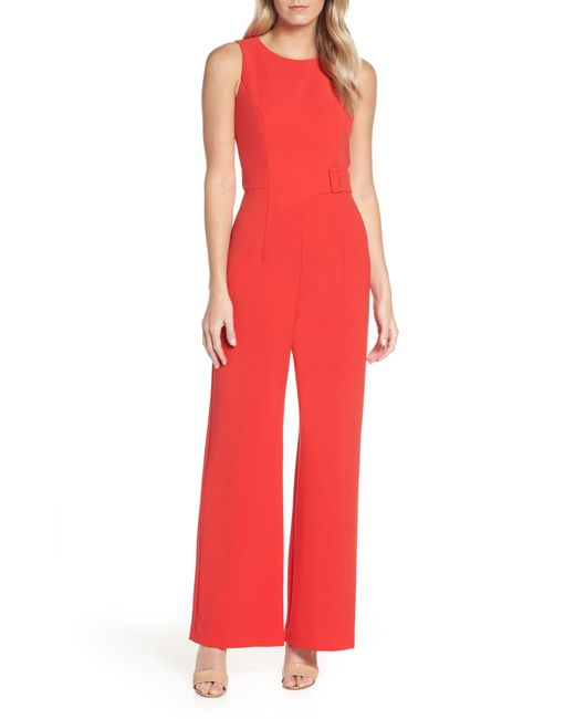 Vince Camuto - Red Buckle Front Crepe Jumpsuit - Lyst