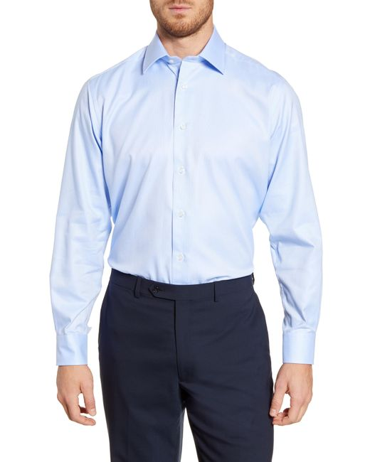 David Donahue Natural Regular Fit Oxford Cotton Dress Shirt for men