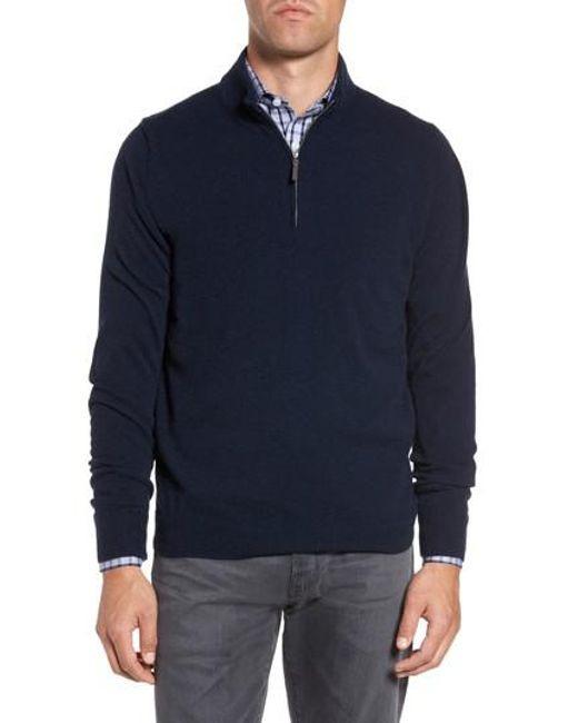 John W. Nordstrom | Blue John W. Nordstrom Quarter Zip Cashmere Sweater for Men | Lyst