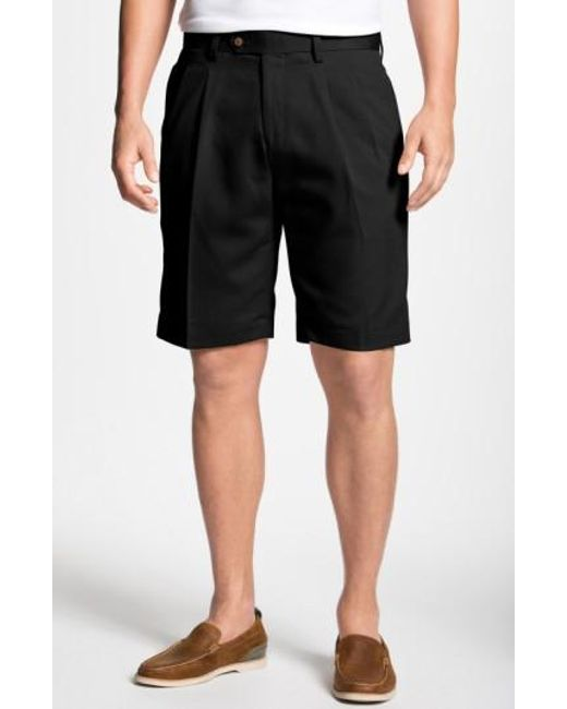 Cutter & Buck | Black Double Pleated Microfiber Twill Shorts for Men | Lyst