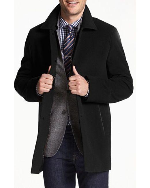 Cole Haan | Black Italian Wool Blend Overcoat for Men | Lyst