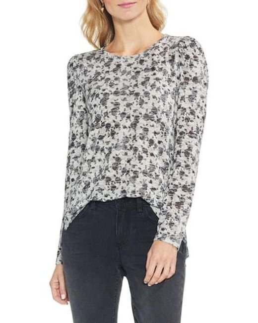 Vince Camuto - Gray Rose-print Top - Lyst