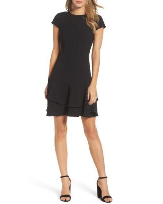 Eliza J | Black Stretch Crepe Sheath Dress | Lyst