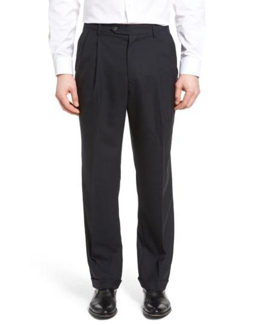 Berle | Blue Pleated Solid Wool Trousers for Men | Lyst