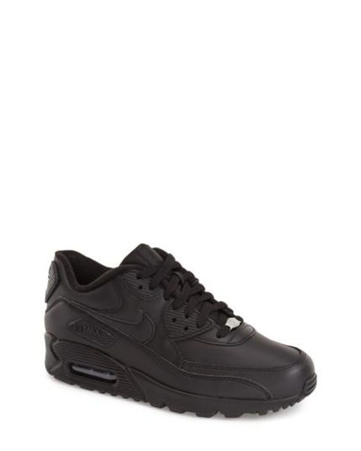 Nike | Black 'air Max 90' Leather Sneaker for Men | Lyst