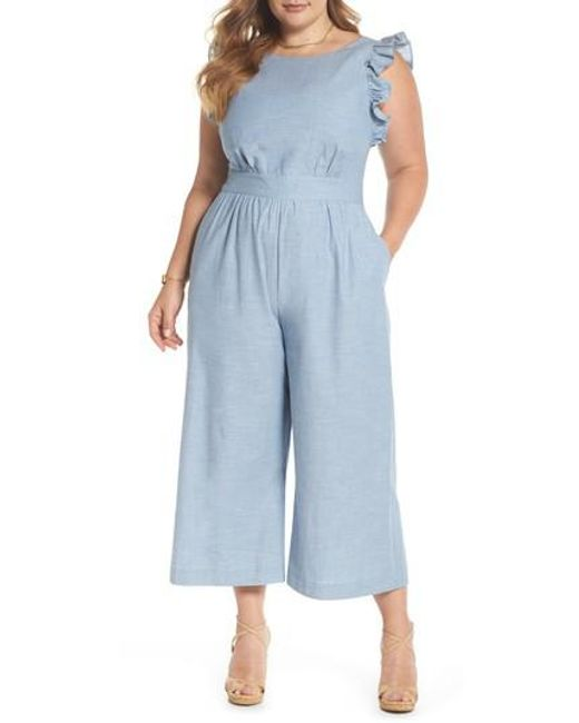 bd571344ce6 Nordstrom 1901 Ruffle Sleeve Jumpsuit in Blue - Lyst