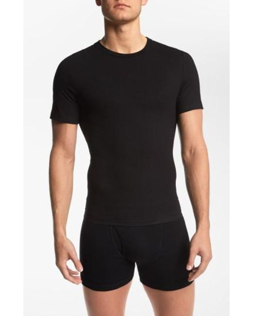 Spanx - Black Spanx Crewneck Cotton Compression T-shirt for Men - Lyst