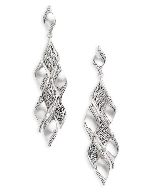 John Hardy - Metallic Classic Wave Silver Drop Earrings - Lyst