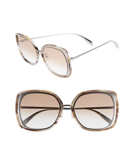 Alexander McQueen - Multicolor 57mm Square Sunglasses - Light Ruthenium - Lyst