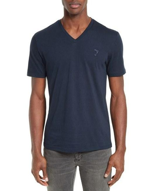 Versace | Gray Medusa V-Neck Jersey T-Shirt for Men | Lyst