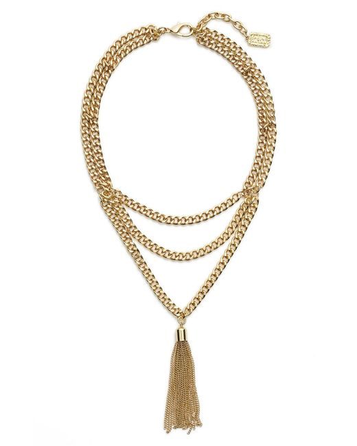 Karine Sultan - Metallic Layered Y-necklace - Lyst