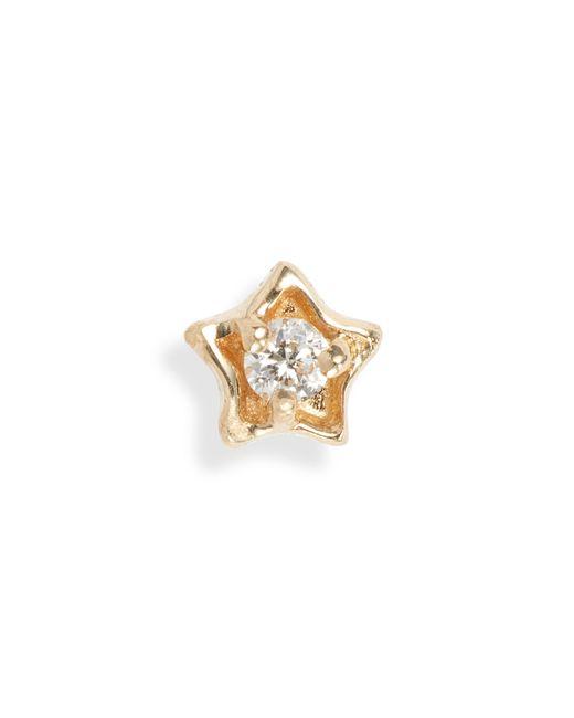 Maria Tash Metallic Diamond Solitaire Star Stud Earring