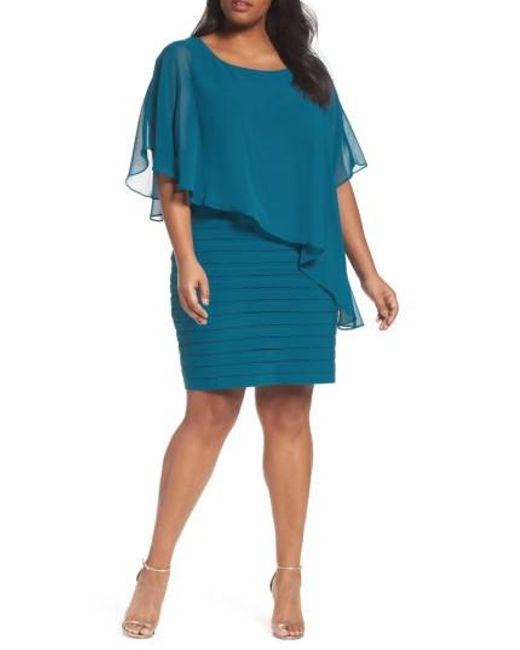 Adrianna Papell | Blue Chiffon Overlay Shutter Pleat Sheath Dress | Lyst