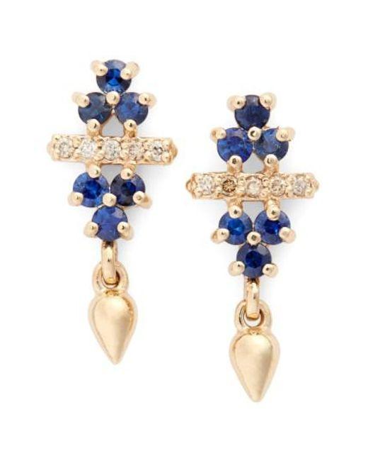 Anna Sheffield   Blue 'emma Bloom Bullet' Sapphire & Champagne Diamond Stud Earrings   Lyst