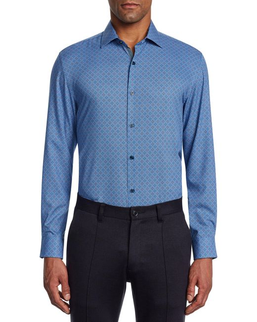 W.r.k. Blue Trim Fit Stretch Print Performance Dress Shirt for men