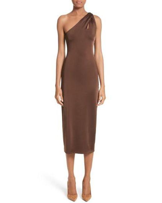 Cushnie et Ochs - Brown Jersey One-shoulder Dress - Lyst