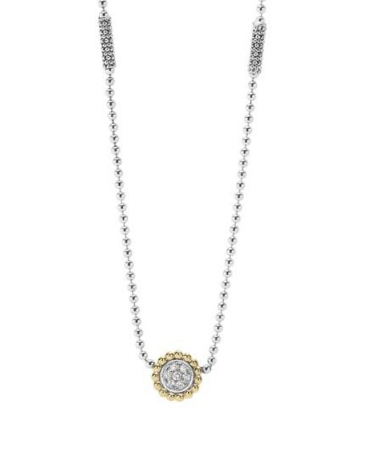 Lagos - Metallic 'caviar' Circle Pendant Necklace - Lyst