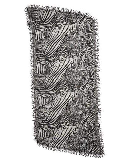 La Fiorentina | Black Animal Print Wool Scarf | Lyst