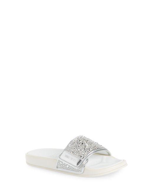 Jimmy Choo White Fitz Imitation Pearl Embellished Slide Sandal