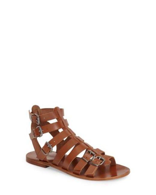TOPSHOP | Brown 'Favorite' Flat Gladiator Sandal | Lyst