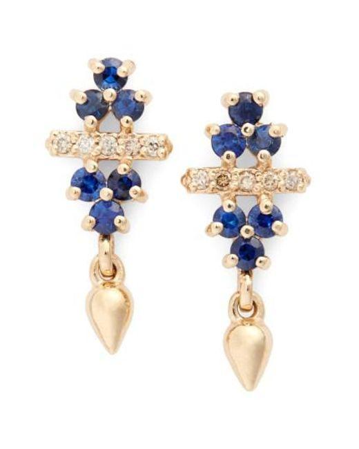Anna Sheffield | Blue 'emma Bloom Bullet' Sapphire & Champagne Diamond Stud Earrings | Lyst