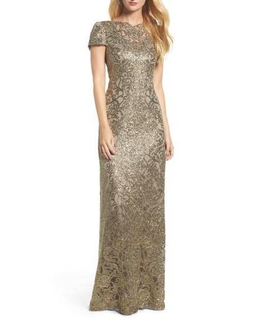 Lyst - Tadashi Shoji Corded Lace Gown in Metallic