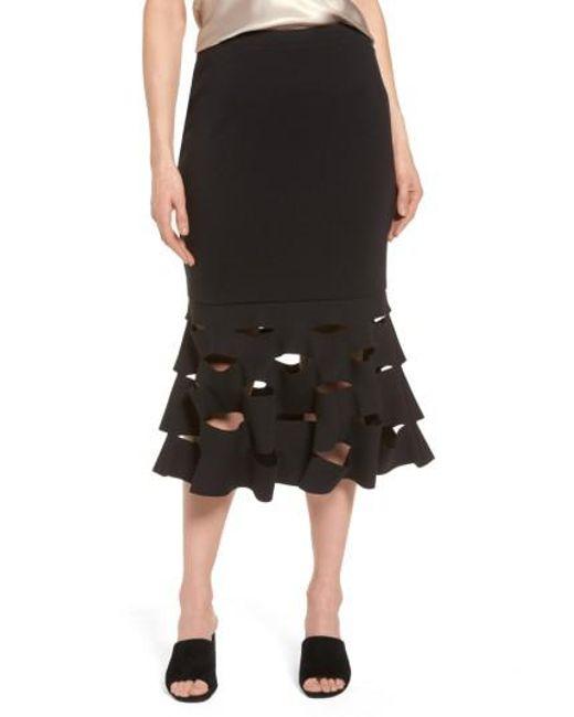 Trouvé | Black Slash Bonded Midi Skirt | Lyst
