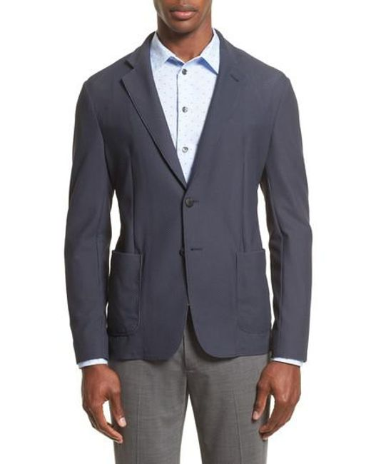 Armani - Gray Mesh Knit Jacket for Men - Lyst