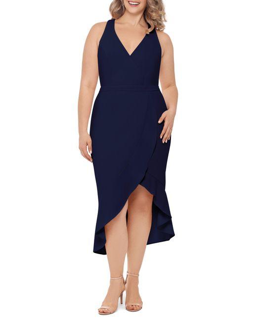 Xscape Blue High/low Midi Dress