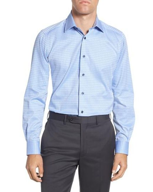 David Donahue - Blue Trim Fit Check Dress Shirt for Men - Lyst