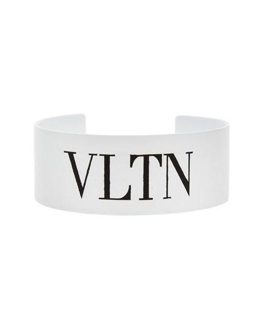 VLTN Medium Cuff Bracelet in White and Black Metal Valentino 9eWVbr6F1