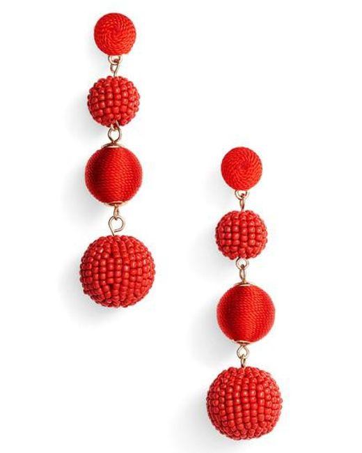 Tasha | Red Mixed Bead & Thread Drop Earrings | Lyst